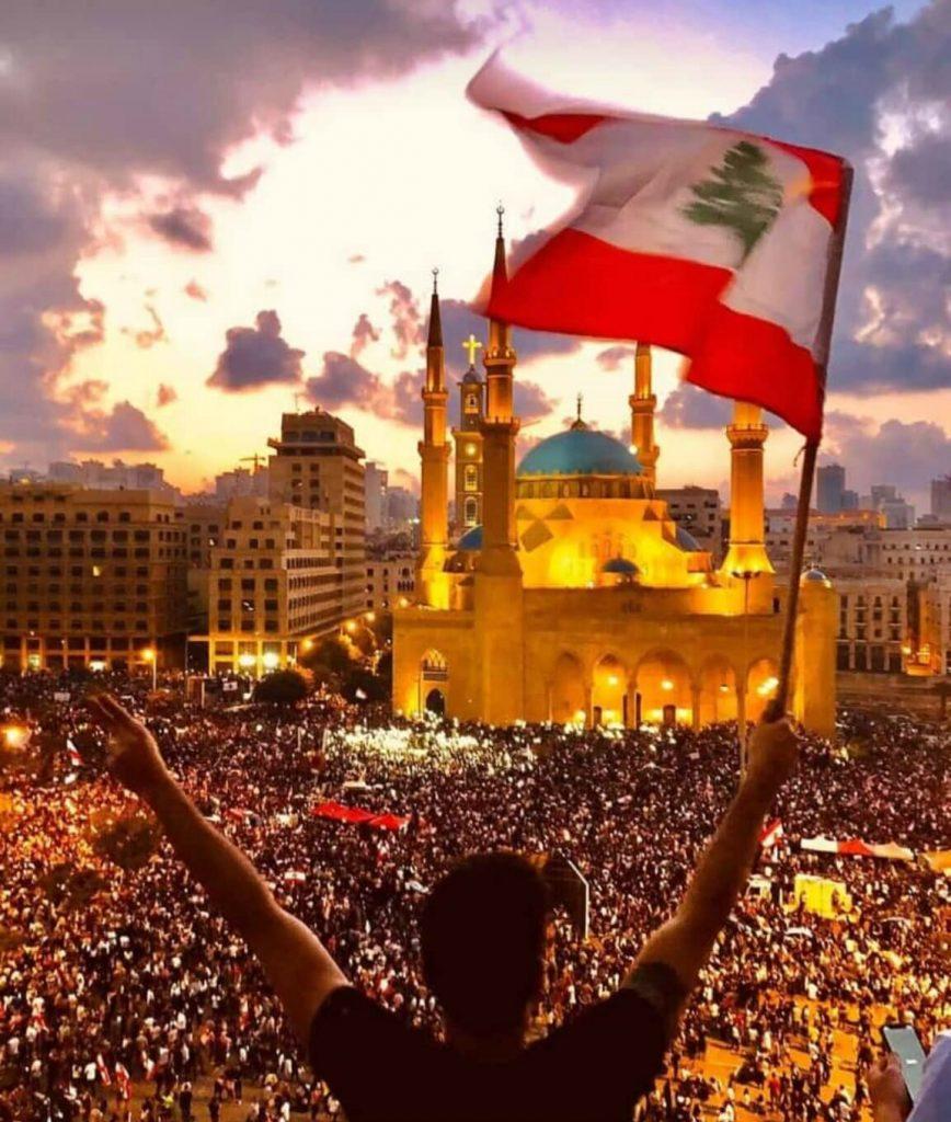 Manifestazione a Beirut, Libano, alla fine del 2019