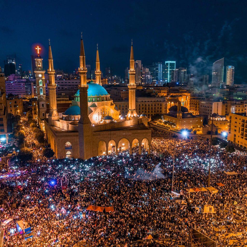 Una manifestazione a Beirut, Libano, alla fine del 2019